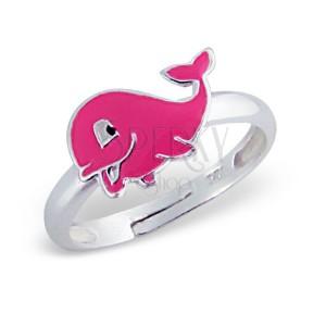 Prsteň pre deti, striebro 925 - tučný delfín, ružový