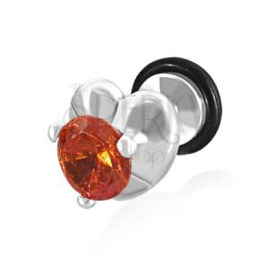 Falošný plug do ucha - srdce a oranžovočervený zirkón