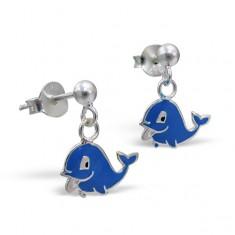 Šperky eshop - Strieborné náušničky 925 - šťastný delfín, visiace K5.3 - Farba: Modrá