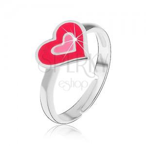 Detský strieborný prsteň 925 - ružové srdiečka