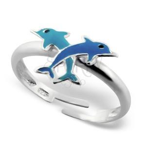 Detský strieborný prsteň 925 - malé prekrížené delfíny