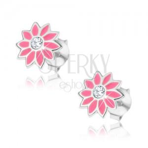 Puzetové strieborné náušnice 925 - ružový kvet so zirkónom