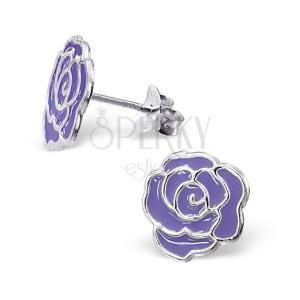 Puzetové strieborné náušnice 925 - ruža