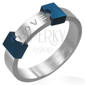 Oceľový prsteň LOVE - rozpoltené srdce