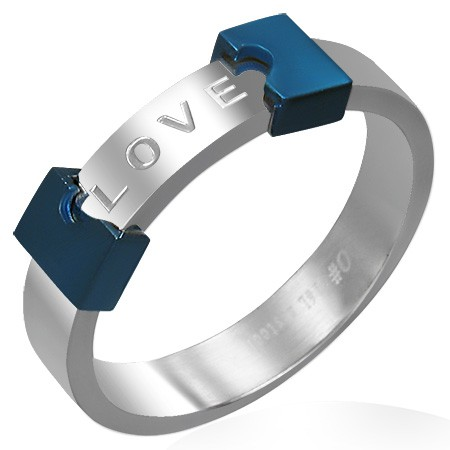 Oceľový prsteň LOVE - rozpoltené srdce - Veľkosť: 56 mm