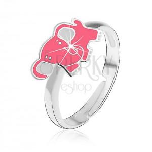 Detský strieborný prsteň 925 - ružový slon