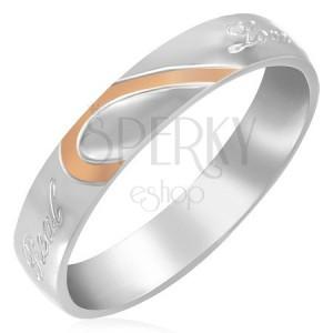 Oceľový prsteň - polovica srdca, zrkadlový lesk