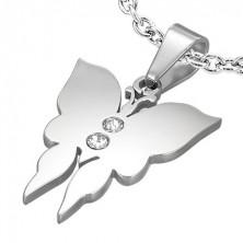 Prívesok z ocele malý motýľ s dvoma zirkónmi