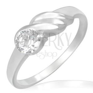 Zásnubný prsteň z ocele - trblietavý zirkón, vlnky