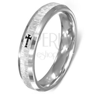 Prsteň z ocele - brúsený stred, lesklé okraje, kríž