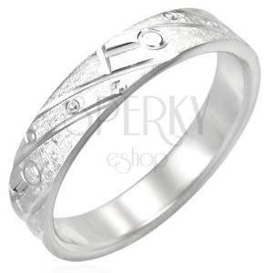 Oceľový prsteň - matný s gravírovaným vzorom