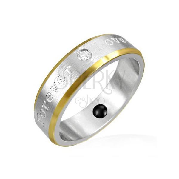 Magnetický prsteň z ocele - okraje zlatej farby, romantické gravírovanie