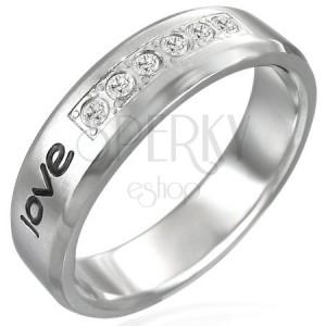 """Oceľový prsteň - nápis """"love"""", šesť zirkónov"""