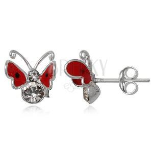 Náušnice zo striebra 925 - červený, lietajúci motýlik