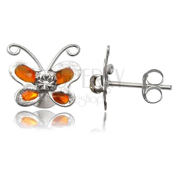 Strieborné náušnice 925 - oranžový motýlik s čírym zirkónom