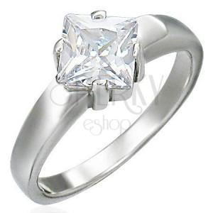Snubný prsteň z chirurgickej ocele, štvorcový zirkón