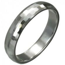 Volfrámový prsteň s jemnými brúsenými obdĺžnikmi, 3 mm