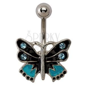 Piercing motýlik - čierna, modrá a strieborná farba, zirkóny