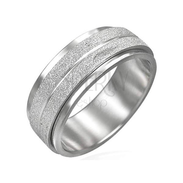 Oceľový prsteň s otáčavým stredným pásom matne brúseným