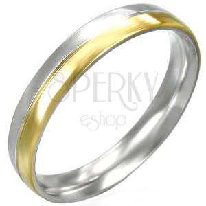 Dámsky prstienok z ocele dvojfarebný - strieborno-zlatej farby