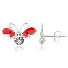 Šperky eshop - Strieborné náušnice 925 - motýľ, červené krídla s čiernymi bodkami T19.14