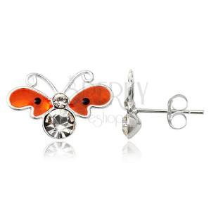 Strieborné puzetové náušnice 925 - plochý oranžový motýľ, zirkóny