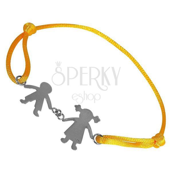 Náramok zo striebra 925 - chlapec a dievča na žltej šnúrke, spojení rukami