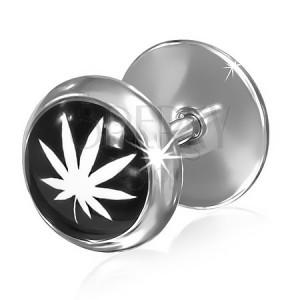 Oceľový fake plug - čierno biela marihuana, 9 lístkov