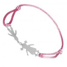 Náramok zo striebra 925 - chlapec a dievčatko na ružovej šnúrke