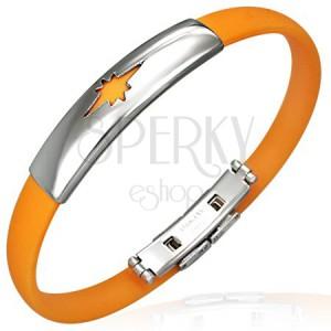 Gumový náramok vzor hviezda, oranžový