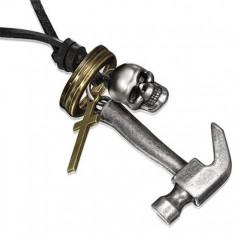 Šperky eshop - Kožený náhrdelník - kladivo, lebka, kríž a kruhy Z18.7