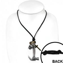 Kožený náhrdelník - kladivo, lebka, kríž a kruhy