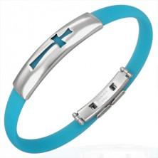 Gumový náramok vzor kríž, aqua modrý