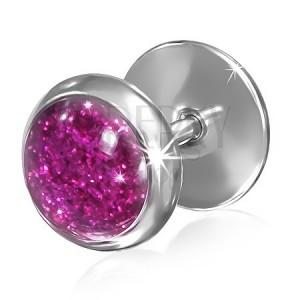 Falošný plug z ocele - trblietavý ružový kruh