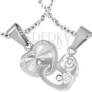 Oceľové prívesky pre dvojicu - prepojené srdcia, nápis, ruže a zirkóny