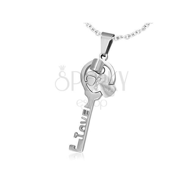 Oceľové prívesky pre pár - kľúč LOVE a malé srdcia 684d59cc05c