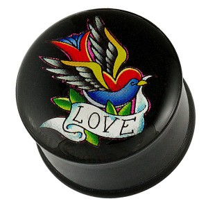 Plug do ucha - pestrofarebný vtáčik, stuha a nápis LOVE