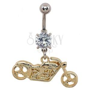 Piercing do pupka - motorka zlatej farby, číry zirkón