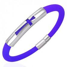 Silikónový náramok kruhový prirez, oceľová známka s krížom, modrý