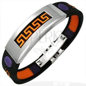 Gumový náramok s aztéckym vzorom oranžovej a fialovej farby