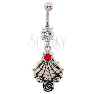 Piercing do brucha - patinovaná pavučina, lebky a ruža, zirkóny