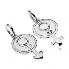 Prívesky pre dvoch zo striebra 925 - okrúhly symbol muža a ženy
