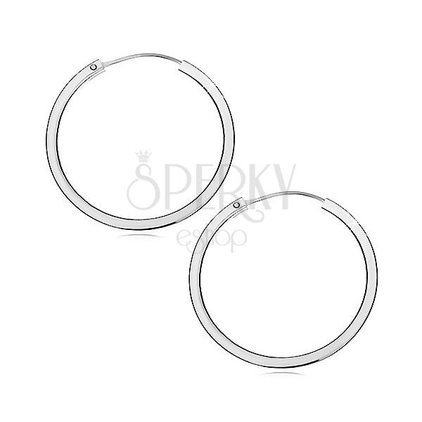 Strieborné náušnice 925 - kruhy s ostrými hranami, 40 mm