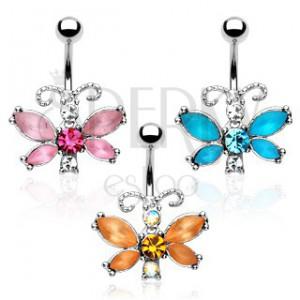 Piercing do bruška - motýľ, farebné zirkóny, členité tykadlá