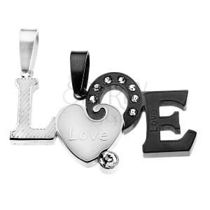 Prívesky pre dvoch - dvojfarebný rozdelený nápis LOVE, matný povrch