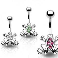 Šperky eshop - Piercing do pupku - žabka, zirkóny na chrbte, pevný úchyt Y12.1 - Farba zirkónu: Číra - C
