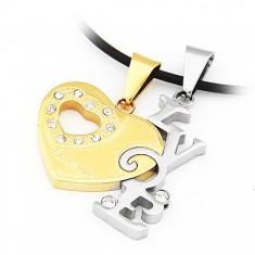Šperky eshop - Dvojprívesok pre zamilovaných - srdce s výrezom a zirkónmi, nápis LOVE AA32.24