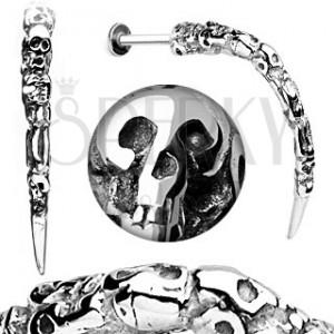 Piercing do brady z ocele - patinovaný roh s lebkami