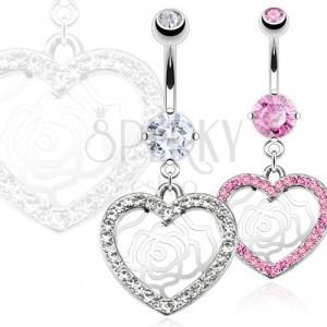 Piercing do pupka z ocele - zirkónové srdce, ruža