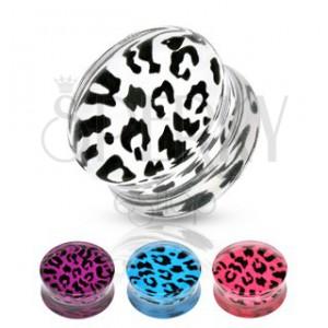 Sedlový plug z akrylu - leopardí vzor, rôzne farby a veľkosti